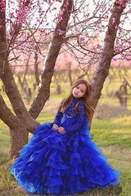 Flower Girls ten layers Party Dresses | Royal Blue Kids Formal Puffy_1