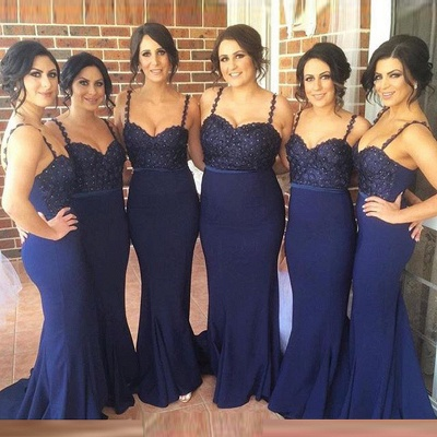 Cute Navy Spaghetti Strap Bridesmaid Dress Lace Beadings Long Wedding Party Dress_3