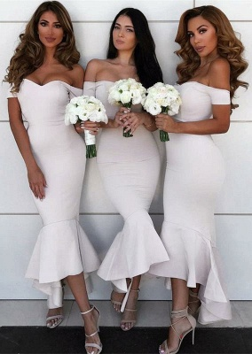 Simple Off-the-shoulder Sexy Trumpt Bridesmaid Dress | Asymmetrical Bridesmaid Dress_1