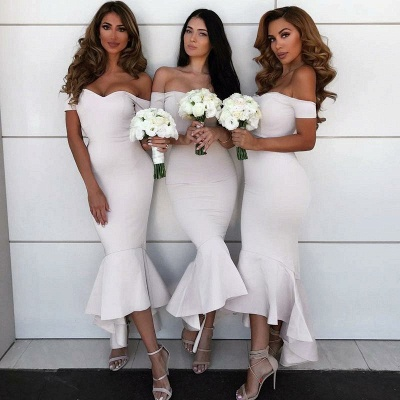 Simple Off-the-shoulder Sexy Trumpt Bridesmaid Dress | Asymmetrical Bridesmaid Dress_3