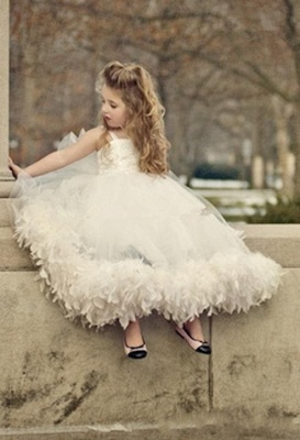 Spaghettis Tulle Feathers Cute UK Flower Girl Dresses Long Girl's Formal Dresses_2