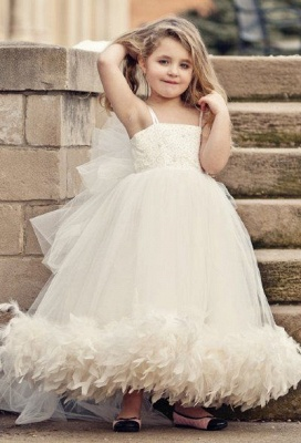 Spaghettis Tulle Feathers Cute UK Flower Girl Dresses Long Girl's Formal Dresses_1