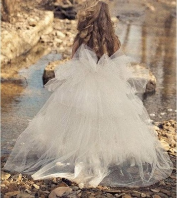 Spaghettis Tulle Feathers Cute UK Flower Girl Dresses Long Girl's Formal Dresses_3