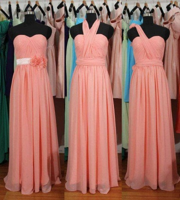 Simple Summer Chiffon Convertible Bridesmaid Gowns Ruffles Evening Dresses_1