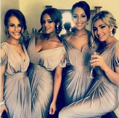Column V-Neck Ruffles Bridesmaid Dresses UK Sleeveless Custom Made Maid of Honor Dresses_2