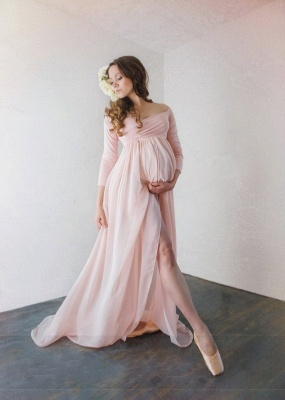 Modest Off-The-Shoulder Bridesmaid Dresses UK | Sexy Side-Slit Chiffon Maternity Maid of Honor Dresses UK