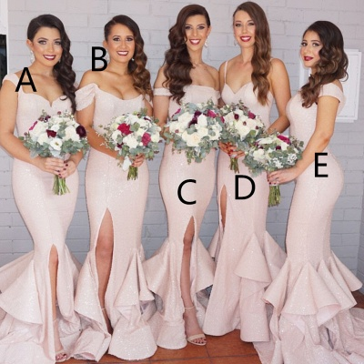 Sequins Sexy Trumpt Bridesmaid Dresses UK Pink Layers Train Side Split Spring Maid of the Honor Dresses_4