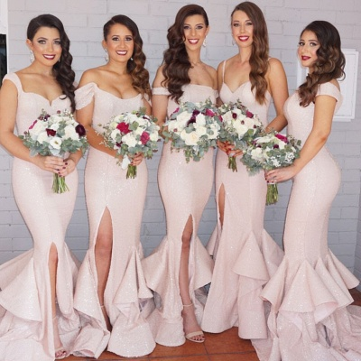 Sequins Sexy Trumpt Bridesmaid Dresses UK Pink Layers Train Side Split Spring Maid of the Honor Dresses_3