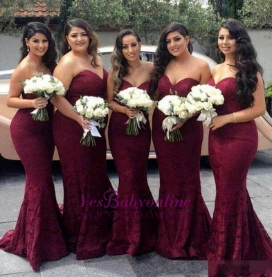 Sweetheart-Neck Burgundy Lace Sexy Trumpt Long Bridesmaid Dress On Sale_2