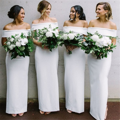 Off The Shoulder Spring Bridesmaid Dresses UK | Column Elegant Cheap Wedding Party Dresses for Bridesmaid_3