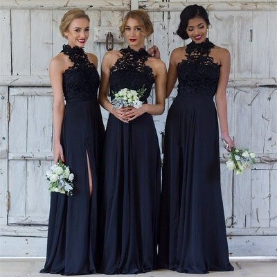 Halter Lace Chiffon Bridesmaid Dress with Split Sleeveless Cheap Spring Maid of Honor Dresses BA7430_4