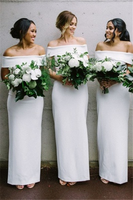 Off The Shoulder Spring Bridesmaid Dresses UK | Column Elegant Cheap Wedding Party Dresses for Bridesmaid_1