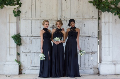 Halter Lace Chiffon Bridesmaid Dress with Split Sleeveless Cheap Spring Maid of Honor Dresses BA7430_3
