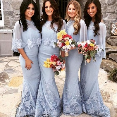 Elegant Butterfly Sleeves Bridesmaid Dresses UK | Lace Appliques Sexy Trumpt Wedding Party Dresses_3