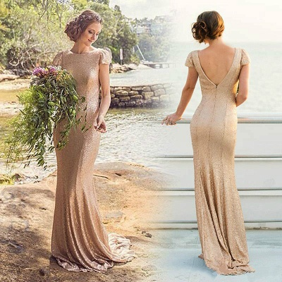 Elegant Sequined Short-Sleeve Zipper Long Bridesmaid Dresses UK_2