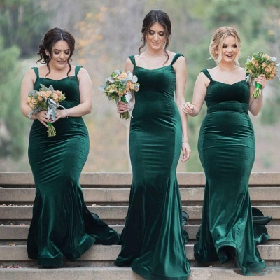 Straps Velvet Green Long Wedding Party Dresses Cheap Elegant Bridesmaid Dress_3