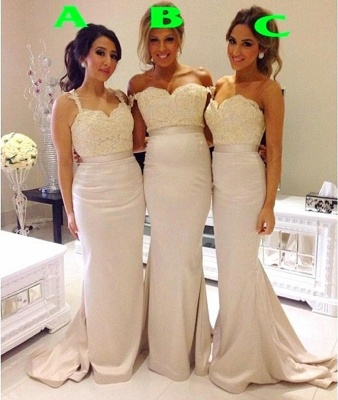 Lace Sexy Trumpt Bridesmaid Dresses UK Sweep Train Simple Party Gowns_1