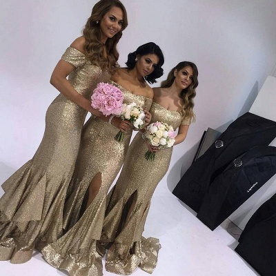 Cute Short-Sleeve Off-the-Shoulder Sexy Trumpt Slit Ruffles Bridesmaid Dress | Cheap Summer Maid of Hornor Dresses UK Online_2