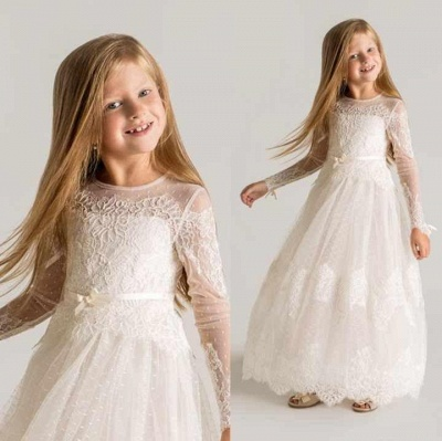 Modern Tulle Lace Modest UK Flower Girl Dress | Long Sleeve Girls Pageant Dress_2