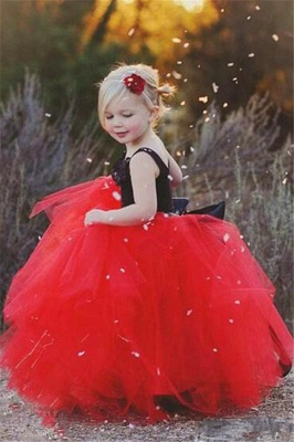 New Straps Black Red Tulle Pageant Ball-Gown UK Flower Girl Dress_2