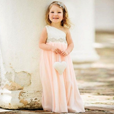 Delicate One Shoulder Chiffon UK Flower Girl Dress Pearls Girls Pageant Dress_2