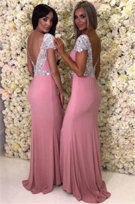 Cap Sleeve Silver Beads Crystals Bridesmaid Dresses UK Cheap | Open Back Spring Pink Maid Of Honor Dress_4