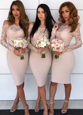 Modest Short Column Bridesmaid Dresses UK | Off-the-Shoulder Lace Maid of the Honor Dress_1