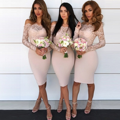 Modest Short Column Bridesmaid Dresses UK | Off-the-Shoulder Lace Maid of the Honor Dress_3