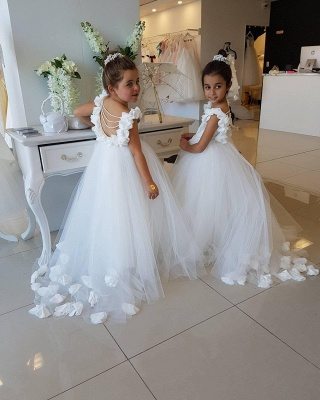 Exquisite Tulle Puffy UK Flower Girl Dresses | Scoop Juliet Flowers Girls Pageant Dresses_5