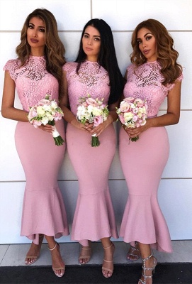 Pink Sexy Trumpt Bridesmaid Dress | Lace Cap Sleeve Wedding Reception Dress_1