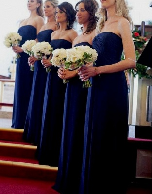 Modest Royal Blue Long Chiffon Evening Bridesmaid Dresses UK_1