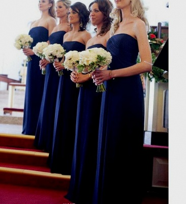 Modest Royal Blue Long Chiffon Evening Bridesmaid Dresses UK_2