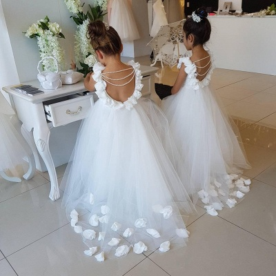 Cute Tulle Appliques Backless UK Flower Girl Dresses with Pearls_3