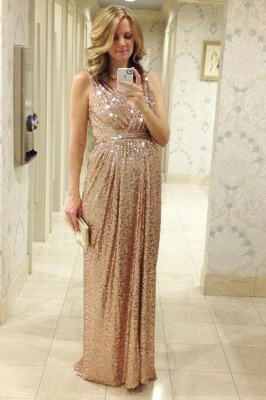Empire V-Neck Sequins Long Maternity Bridesmaid Dress New Trendy Cheap Bridesmaid Dress BO6869