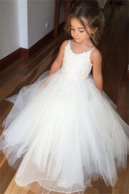 Cute Sleeveless Spaghetti Straps Lace UK Flower Girl Dresses | White Tulle Puffy Pageant Dresses_1