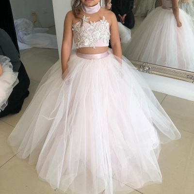 Cute Sweetheart Two-Pieces Appliques Tulle Pink UK Flower Girl Dresses_4