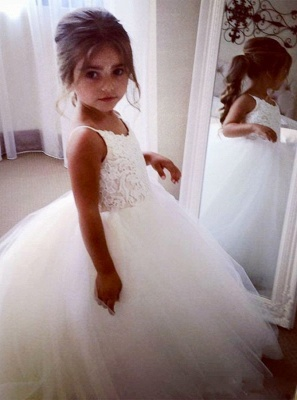 Cute Sleeveless Spaghetti Straps Lace UK Flower Girl Dresses | White Tulle Puffy Pageant Dresses_3
