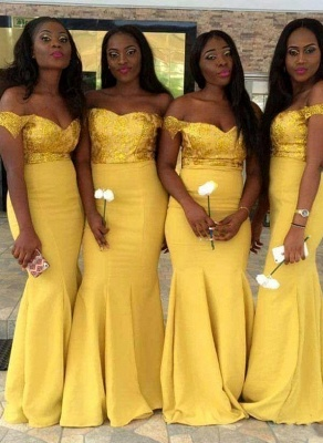 New Yellow Sexy Trumpt Bridesmaid Dresses UK | Sequins Off-the-Shoulder Maid of the Honor Dress_1