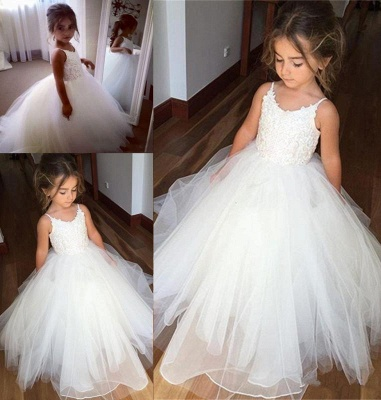 Cute Sleeveless Spaghetti Straps Lace UK Flower Girl Dresses | White Tulle Puffy Pageant Dresses_4