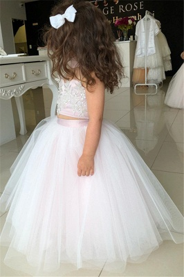 Cute Sweetheart Two-Pieces Appliques Tulle Pink UK Flower Girl Dresses_2