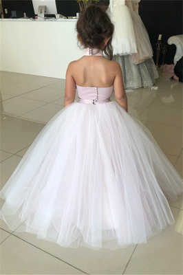 Cute Sweetheart Two-Pieces Appliques Tulle Pink UK Flower Girl Dresses_3