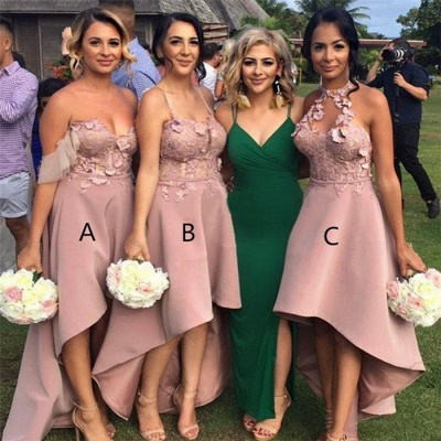 Pink Asymmetrical Appliques Bridesmaid Dresses UK | Summer Sleeveless Maid of Honor_3