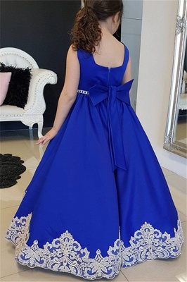 Royal Blue Modest Straps Appliques Long UK Flower Girl Dresses_2
