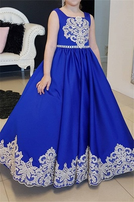 Royal Blue Modest Straps Appliques Long UK Flower Girl Dresses_1