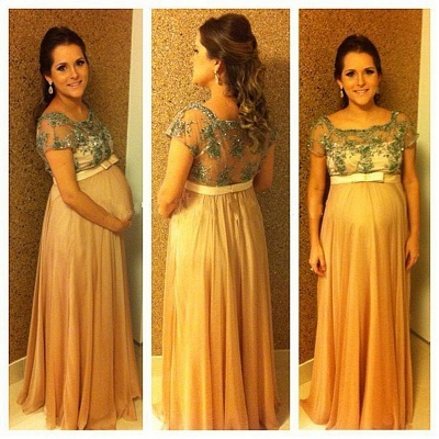 Ball-Gown Bow Long Chiffon Short-Sleeves Pregnant Beading Bridesmaid Dress