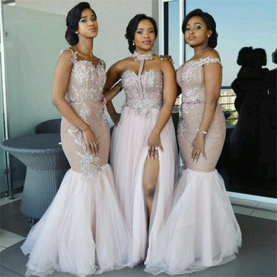 Elegant Pink Tulle Bridesmaid Dresses UK | Appliques Cheap Wedding Party Dress_3