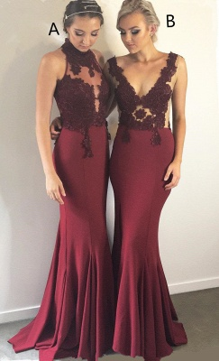 Burgundy Lace Bridesmaid Dresses UK Cheap | Sleeveless Column Spring Maid of Honor Dresses_5