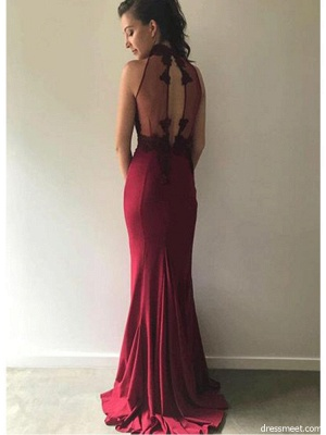 Burgundy Lace Bridesmaid Dresses UK Cheap | Sleeveless Column Spring Maid of Honor Dresses_4