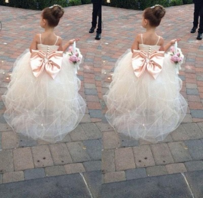 Cute Spaghetti Strap Tulle Princess UK Flower Girl Dress Bowknot_3