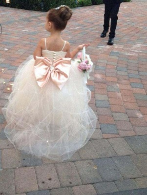 Cute Spaghetti Strap Tulle Princess UK Flower Girl Dress Bowknot_2